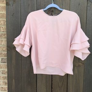 Zara Woman Blush Ruffle Sleeve Top Size Small